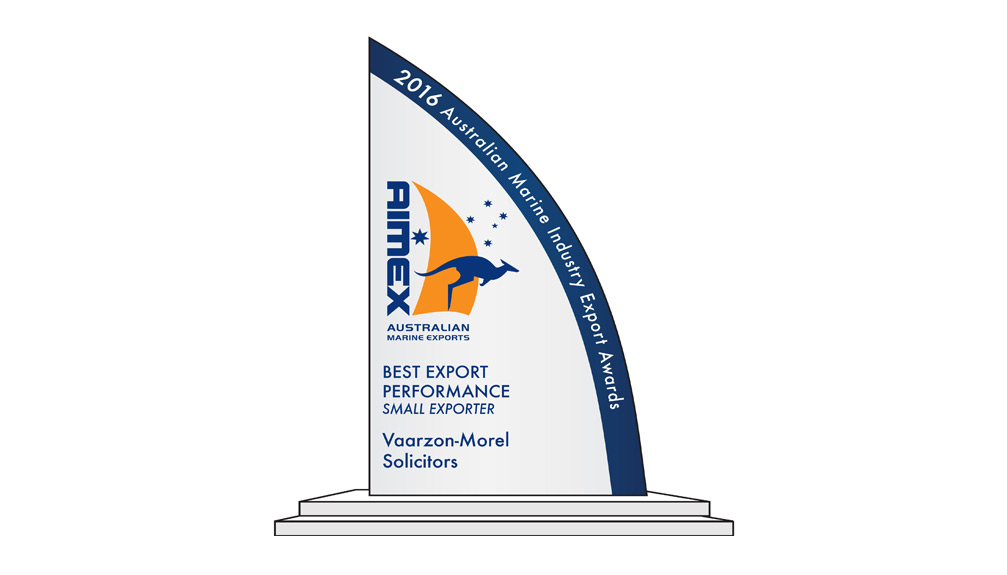 Vaarzon-Morel Lawyers Takes 'Best Export Performance' Award – 2016 Australian Marine Industry Export Awards